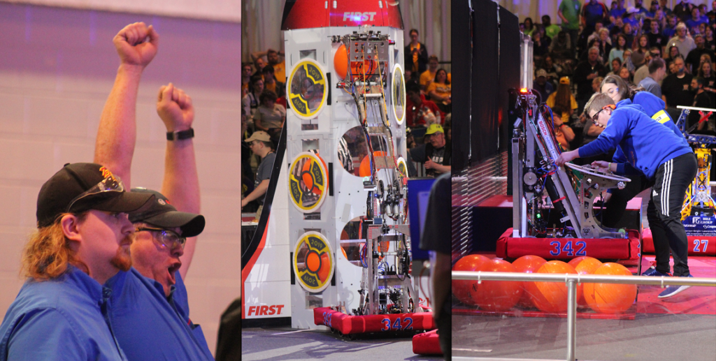 Lead Mentor 'Mr. White' Cheering, Burnie Reaching for Level 3, and Robot Setup